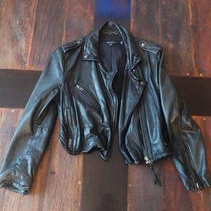 Muubaa crop leather bomber jacket